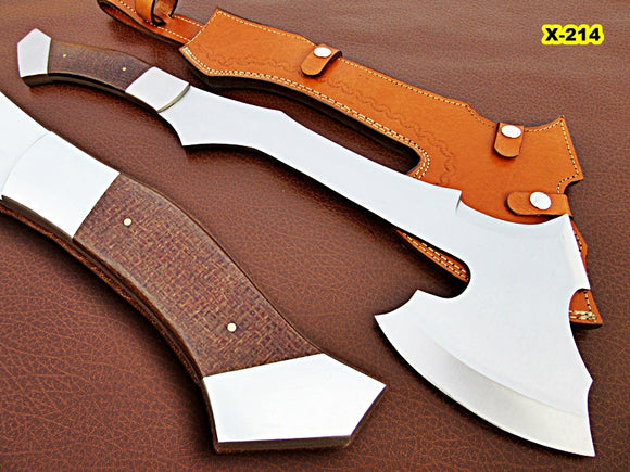 DIST-X-214, Custom Handmade 20 Inches Hi Carbon Steel Axe - Solid Jute Micarta Handle with Carbon Steel Bolsters