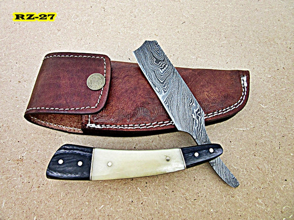 RZ-27, Custom Handmade Damascus Steel Straight Razor - White Bone and Doller Sheath Handle