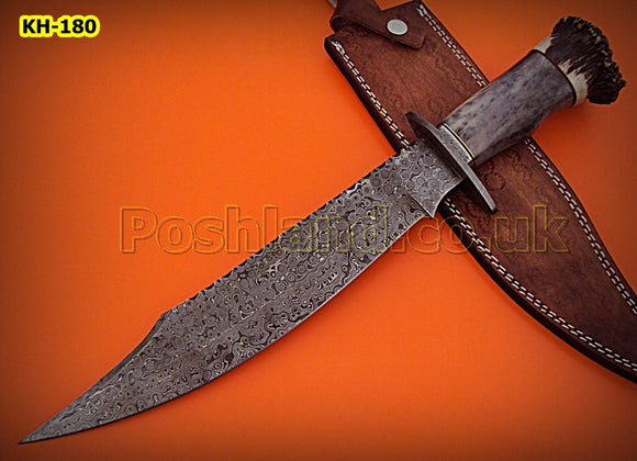 REG-HK-180, Handmade Damascus  Steel 17 Inches Hunting Knife - Beautiful Stag Crown & Colored Bone Handle with Damascus Steel Guard