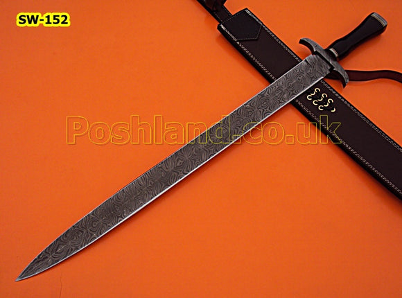 SW-152 Handmade Damascus Steel 31 Inches Sword - Beautiful G-10 Handle with Damascus Steel Guard