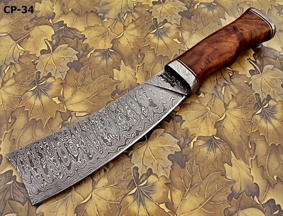 CP-34, Custom Handmade Damascus Steel 12 Inches Chopper Knife – Solid Rose Wood Handle