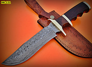 REG-HK-121, Handmade Damascus Steel 12 Inches Hunting Knife - Perfect Grip Rose Wood Handle