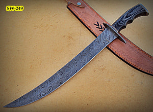 SW-249, Handmade Damascus  Steel 21.5 Inches Sword - Black Doller Sheet Handle with Damascus Steel Guard