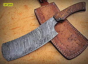 RK-CP-285, Handmade Damascus Steel Chopper Knife – Solid Rose Wood Handle