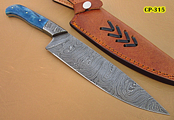 RK-CP-315, Handmade Damascus Steel Chef Knife – Solid Colored Bone Handle with Damascus Steel Bolsters