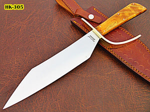 REG-HK-305, Custom Handmade 15.6 Inches Hi Carbon Steel Bowie Knife - Beautiful Apricots Wood Handle with Brass Guard