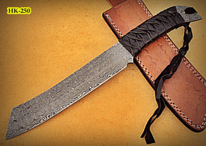 REG-HK-250, Handmade 13.00 Inches Full Tang Damascus Steel Bowie Knife – Beautiful Grip of Black Leather