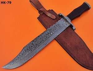 REG-HK-79, Handmade Damascus Steel 17.4 Inches Hunting Knife - Solid Rose Wood Handle
