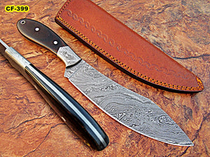 CF - 399, Custom Handmade Full Tang Damascus Steel Chef Knife - Black Brown Micarta Handle with Damasucs Steel Bolsters