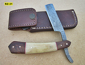 RZ-31, Custom Handmade Damascus Steel Straight Razor - Beautiful White Bone and Rose Wood Handle