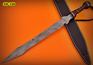 SW-168, Handmade Damascus  Steel 29 Inches Sword - Beautiful Rose Wood Handle with Damascus Steel Guard