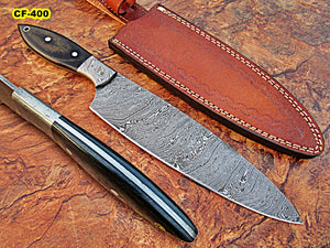 CF - 400, Custom Handmade Full Tang Damascus Steel Chef Knife - Black Brown Canvas Micarta Handle with Damascus Steel Bolster