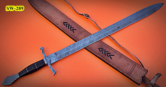 SW-289, Handmade Damascus  Steel 37 Inches Sword - Solid Three Tone Jean Micarta Handle with Damascus Steel Guard