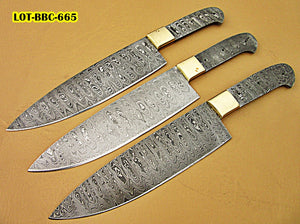 LOT-BBC-665,  Handmade Damascus Steel 12 Inches Full Tang Chef Knife Set with Brass Bolsters