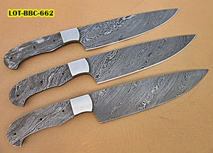 LOT-BBC-662,  Handmade Damascus Steel 12 Inches Full Tang Chef Knife Set with Stainless Steel Bolsters