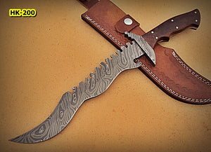 REG-HK-200, Handmade 15.00 Inches Damascus Steel Bowie Knife – Beautiful Rose Wood Handle