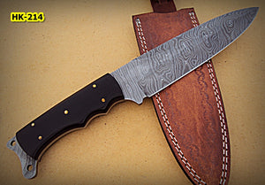REG-HK-214, Handmade 12.20 Inches Full Tang Damascus Steel Bowie Knife – Beautiful Black Canvas Micarta Handle