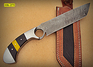 REG-HK-273, Handmade Damascus Steel 12.20 Inches Bowie Knife - Colored Bone and Bull Horn Handle with Stainless Steel Bolsters