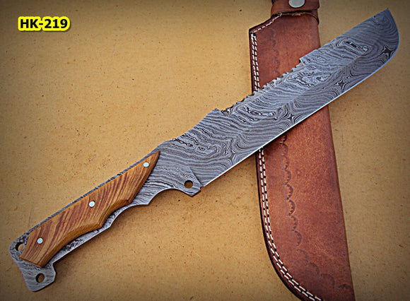 REG-HK-219, Handmade Full Tang Damascus Steel 15.40 Inches Bowie Knife - Olive Burrel Wood Handle