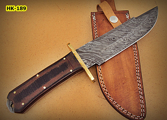 REG-HK-189, Handmade Damascus Steel 12 Inches Bowie Knife - Black Brown Micarta Handle with Brass Guard