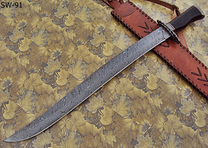 "SW-91- Handmade Damascus Steel 25.4"" Inches  Sword - Perfect Grip."