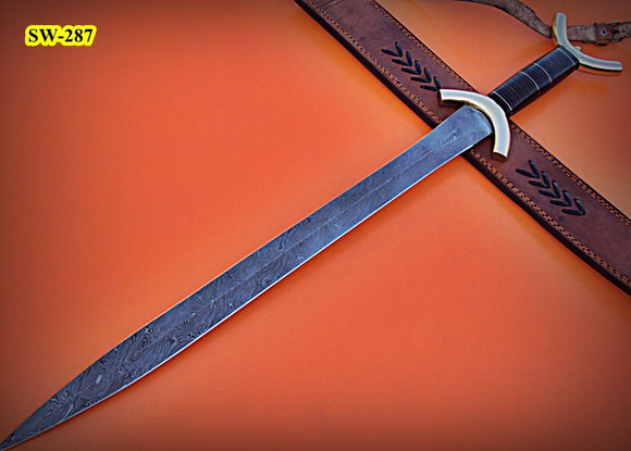 SW-287, Handmade Damascus  Steel 31 Inches Sword - Solid Three Tone Jean Micarta Handle with Brass Guard