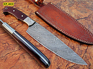 CF - 403, Custom Handmade Full Tang Damascus Steel Chef Knife - Beautiful Brown Canvas Micarta Handle with Damascus Steel Bolster