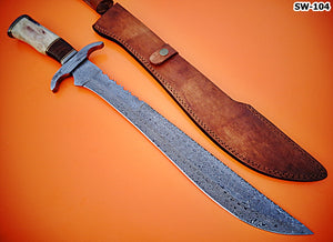 SW-104. Handmade Damascus Steel 22.00 Inches Full Tang Sword - Perfect Grip