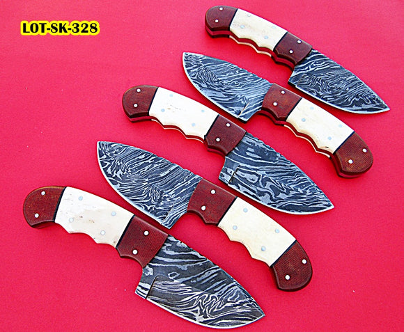 LOT-Sk-328,  Custom Handmade Damascus Steel Skinner Knife Set (Lot of Five) - Beautiful White Bone & Brown Micarta Handle