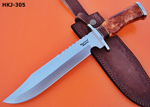 "REG-HKJ-305- Handmade 440C Stainless Steel 14.3"" Inches Bowie Knife - Colored Bone Handle."