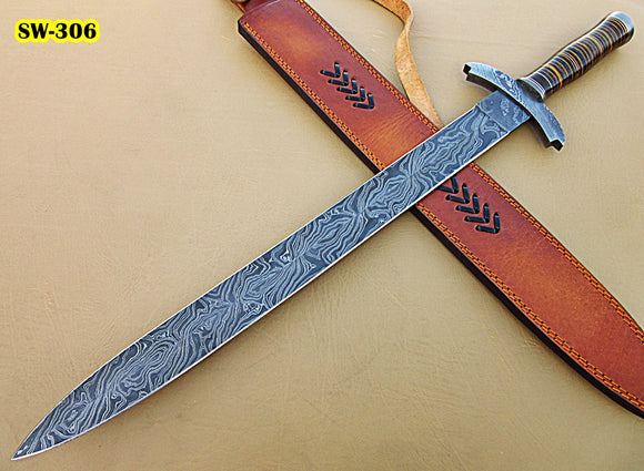 Sw-306, Handmade Damascus Steel 26.4 Inches Sword - Beautiful Three Tone Micarta Handle with Damascus Steel Guard
