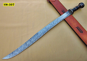 Sw-307, Handmade Damascus Steel 32 Inches Sword - Black G-10 Micarta Handle with Damascus Steel Guard