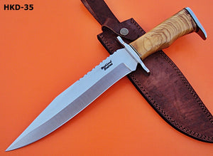 "REG-HKD-35 Handmade D-2 -14.4"" Inches Bowie Knife -Olive Burrel Wood Handle"