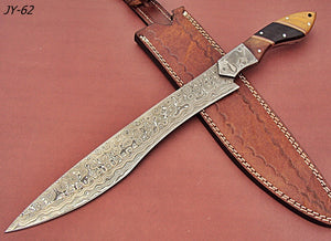 REG-JY-62 Handmade Damascus Steel 15.00 Inches Bowie Knife - Exotic Wood Handle