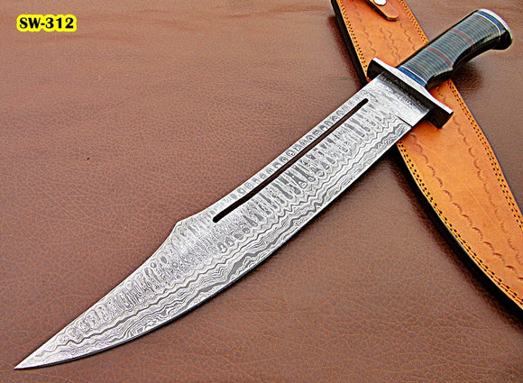 Sw-312, Handmade Damascus Steel 22 Inches Sword - Beautiful Green Micarta Sheet Handle with Damascus Steel Guard