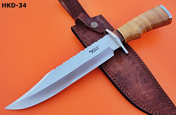 REG-HKD-34 Handmade D-2 14.00 Inches Bowie Knife -Olive Burrel Wood Handle