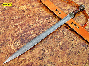 Sw-315, Handmade Damascus Steel 29.4 Inches Sword - Solid Rose Wood Handle with Damascus Steel Guard