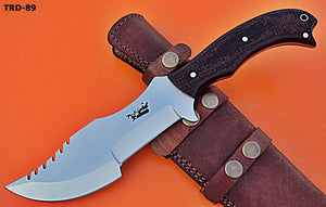 TRD-89 Custom Handmade D2 Tool Steel Tracker Knife- Black Jute Micarta Handle