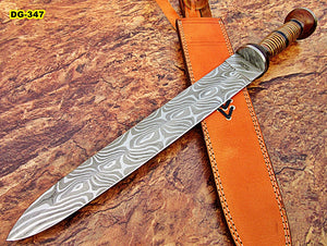 RAM-DG-347, Handmade Damascus Steel 21 Inches Dagger Knife – Exotic Rose Wood & Three Tone Micarta Handle with Damascus Steel Guard