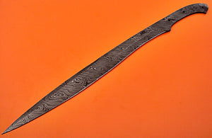 BB-108 25.00 Inches Handmade Damascus Steel Full Tang Sword - Blank Blade