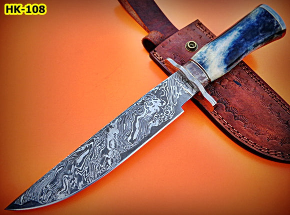 REG-HK-108, Custom Handmade 12.50 Inches Damascus Steel Bowie Knife – Stained Bone Handle