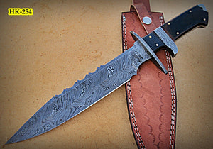 REG-HK-254, Handmade Full Tang Damascus Steel 14.2 Inches Bowie Knife - Beautiful Two Tone Micarta Handle with Damascus Steel Guards