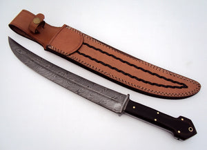 REG-HK-176, Handmade Damascus Steel 17 Inches Hunting Knife - Stained Two Tone Micarta Handle