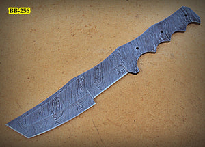 BB-256,  Handmade Damascus Steel Blank Blade Full Tang Tracker Knife
