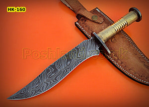 REG-HK-160, Custom Handmade 14 Inches Damascus Steel Hunting Knife - Beautiful Brass Handle with Damascus Steel Guards