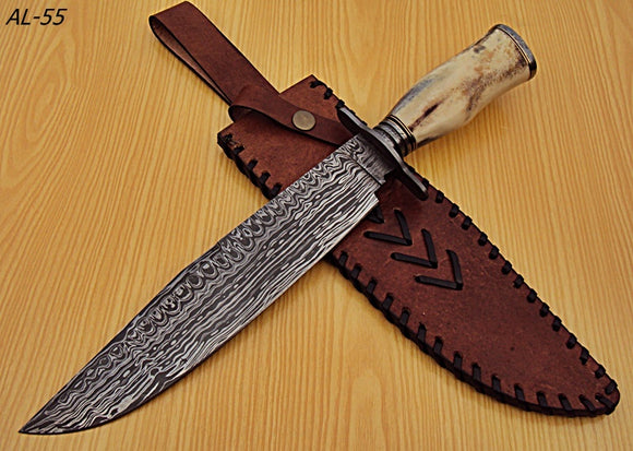 REG-AL-55, Handmade Damascus Steel Bowie Knife - Beautiful Camel Bone Handle