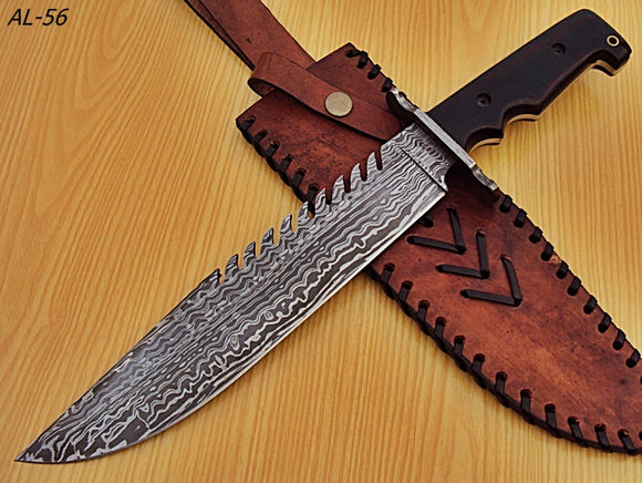 REG-AL-56, Handmade Damascus Steel 15 Inches  Bowie Knife - Solid  Jean Micarta Handle