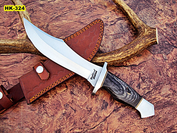 REG-HK-324, Handmade Hi Carbon Steel 15 Inches Bowie Knife - Black Doller Sheet Handle with Carbon Steel Guard
