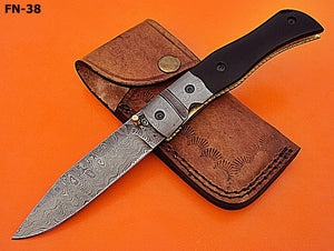 FN-38 Custom Handmade Damascus Steel Folding Knife- Solid and Durable
