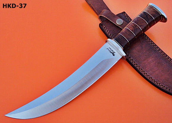 REG-HKD-37, Custom Handmade (D-2) Steel 14 Inches Hunting Knife - Solid Rose Wood Handle with Stainless Steel Guards